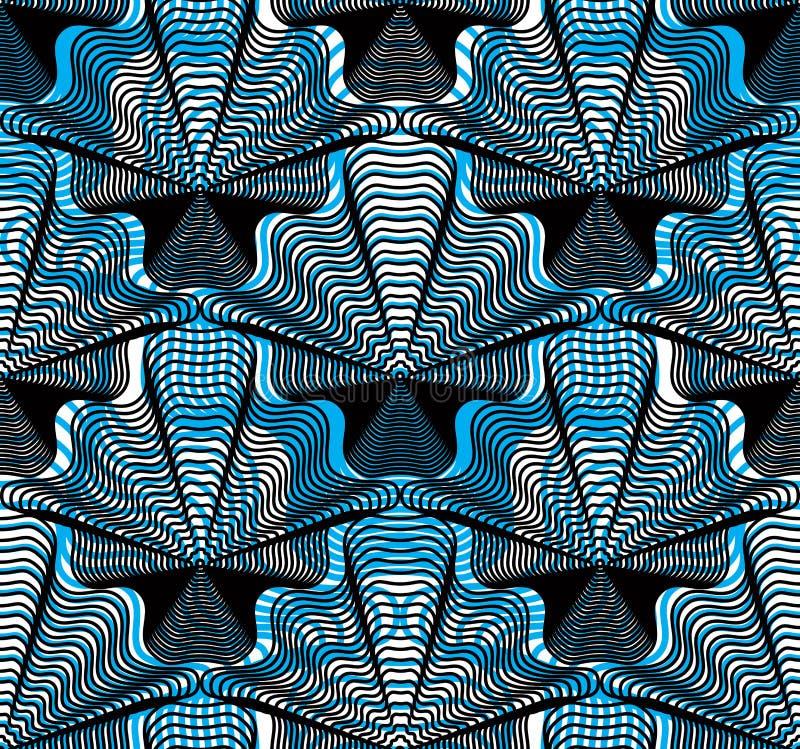Vector blaues gestreiftes endloses Überlagerungsmuster, Kunst ununterbrochenes geo stock abbildung