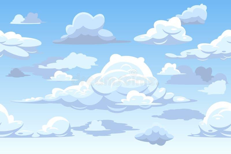 Vector blaues horizontales nahtloses Muster des bewölkten Himmels der Karikatur stock abbildung