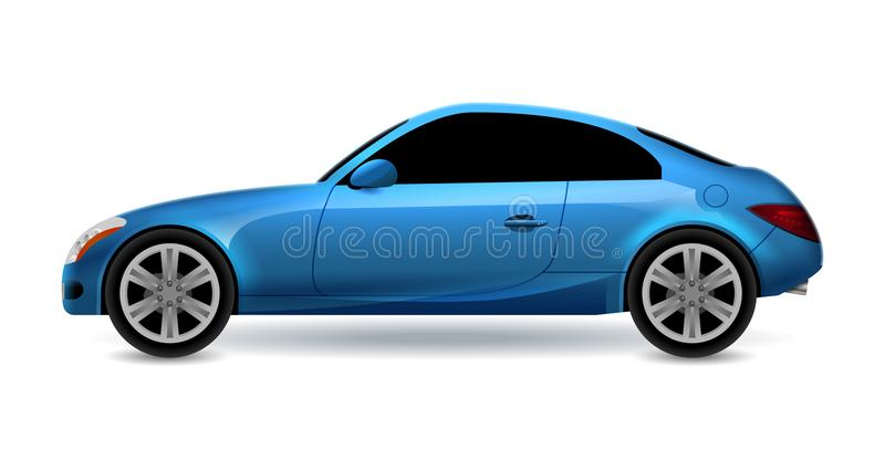 Vector blaues lokalisierte Seitenansicht des Profils des Automobils Coupé Modernes Limousinetransport-Autoluxusauto Seitenansicht lizenzfreie abbildung