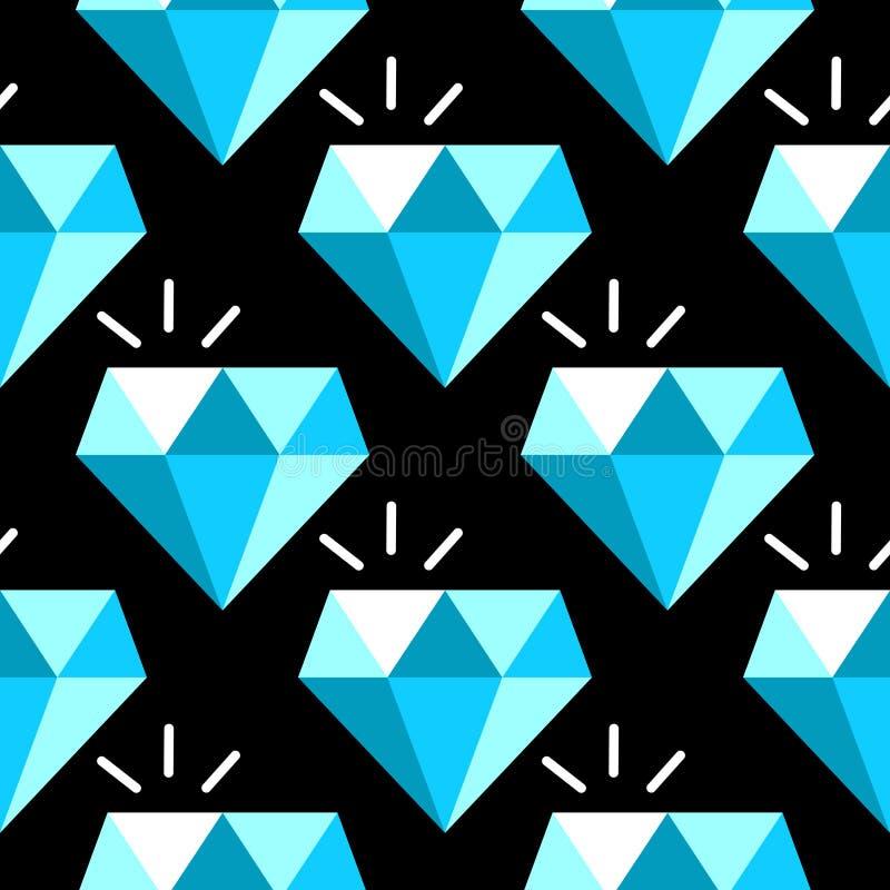 Vector blauw diamanten naadloos patroon stock illustratie