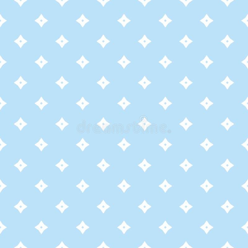 Vector blauw geometrisch naadloos patroon met kleine diamanten, sterren stock illustratie