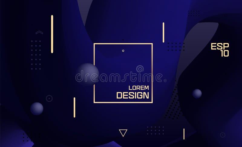Vector blauw ontwerp, abstracte gradiënt geometrische golvende minimale achtergrond Kleurrijke vloeibare vormen In vloeibaar 3d c royalty-vrije illustratie