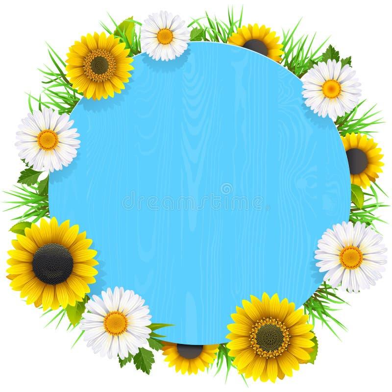 Vector Blauw Rond Houten Kader met Bloemen vector illustratie