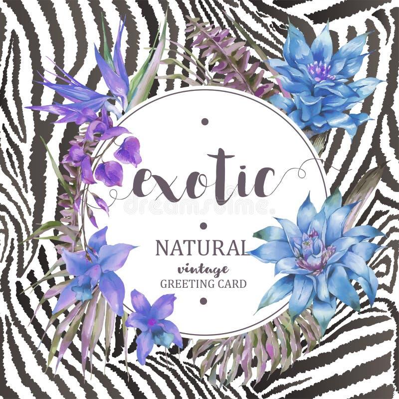 Vector blauw uitstekend bloemen tropisch rond kader stock illustratie