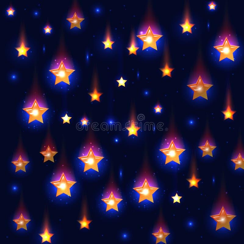 Vector blauwe achtergrond met dalende sterren vector illustratie