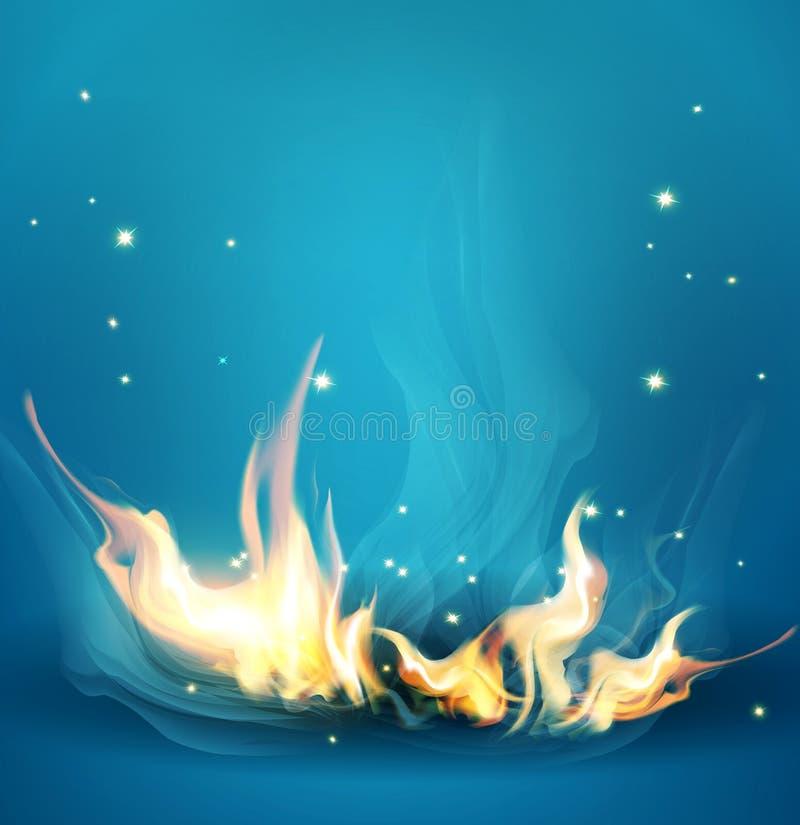 Vector blauwe achtergrond met een brandende brand royalty-vrije illustratie