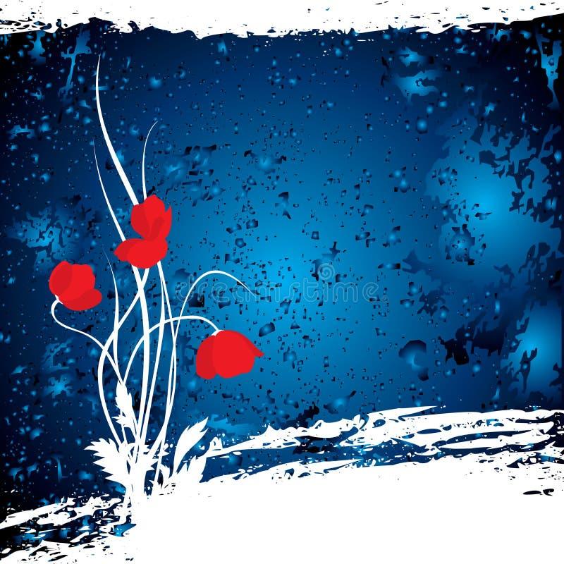 Vector blauwe achtergrond met poppys vector illustratie