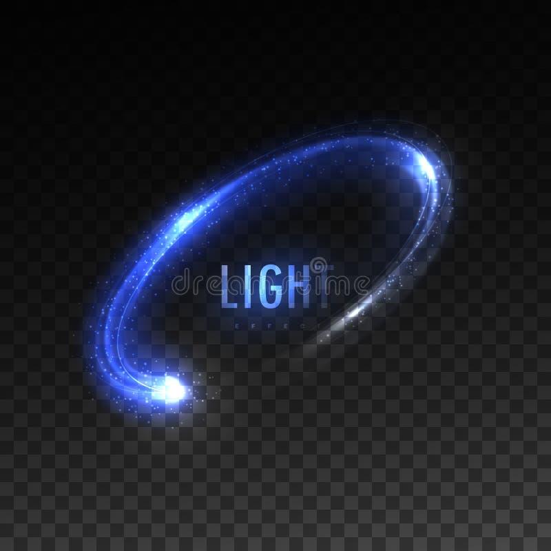 Vector blauwe cirkel lichte stroom op geruite transparante achtergrond stock illustratie