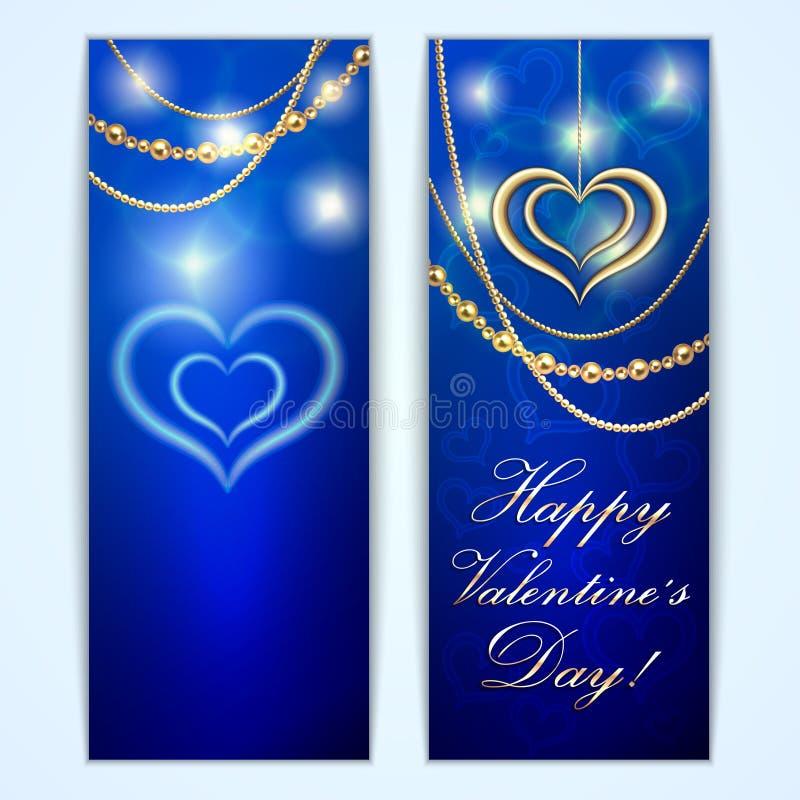 Vector blauwe de groetkaart van Heilige Valentine met royalty-vrije illustratie