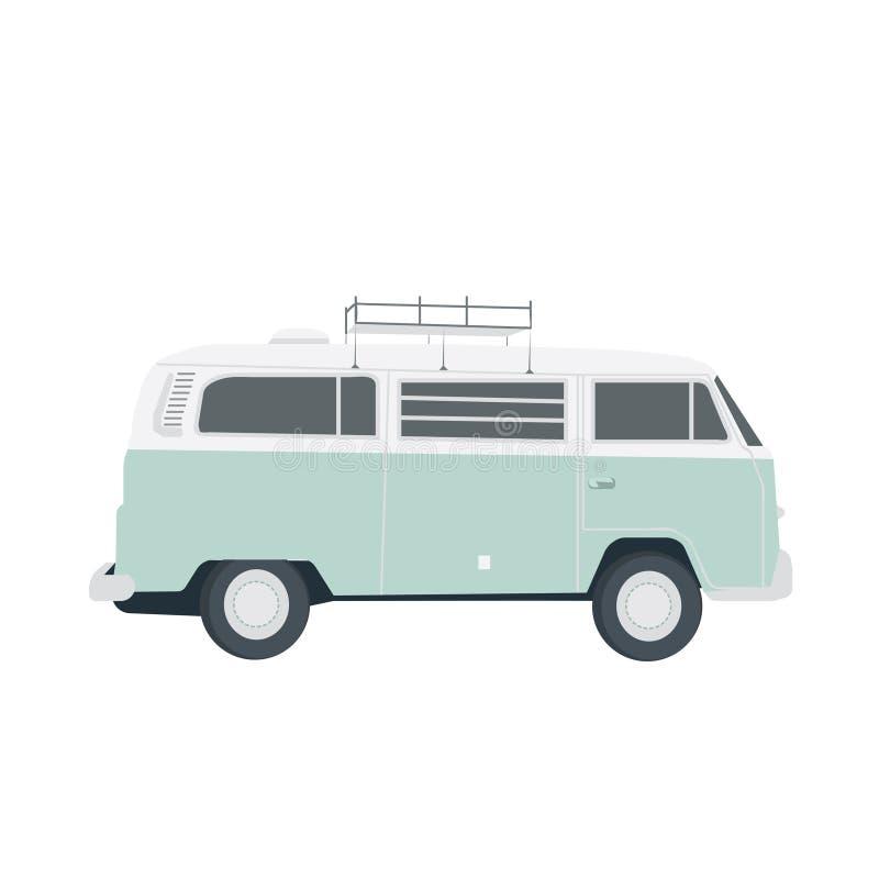 Vector blauwe die retro bus op wit wordt geïsoleerd Eenvoudige vlakte vector illustratie