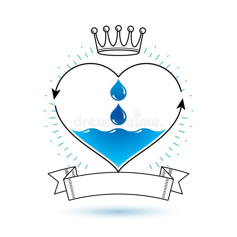 Vector blauwe duidelijke waterdaling logotype voor gebruik zoals op de markt brengend desig stock illustratie
