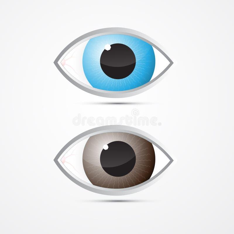 Vector Blauwe en Bruine Ogen vector illustratie