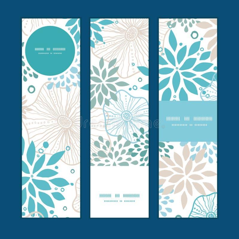 Vector blauwe en grijze geplaatste installaties verticale banners vector illustratie