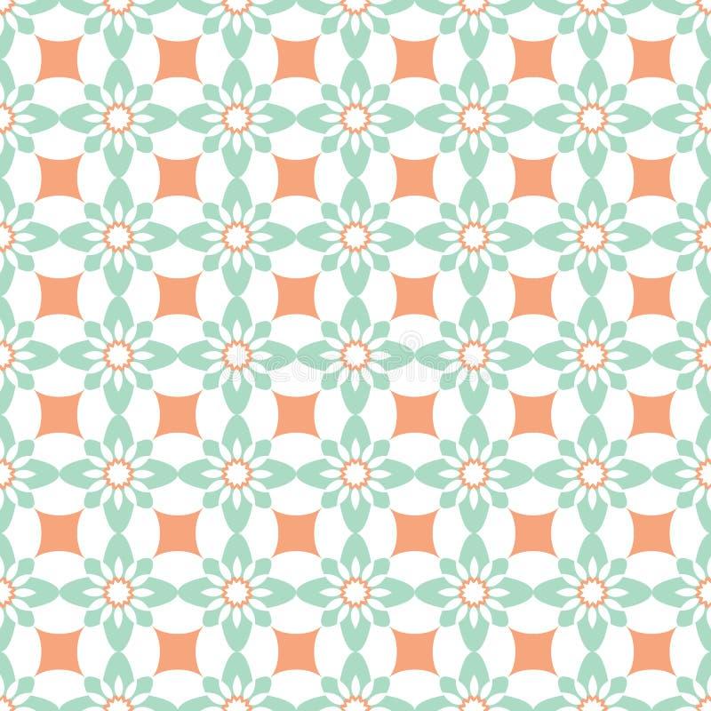 Vector blauwe en oranje naadloze geometrische patroonachtergrond met rozetten en bloemvormen royalty-vrije illustratie