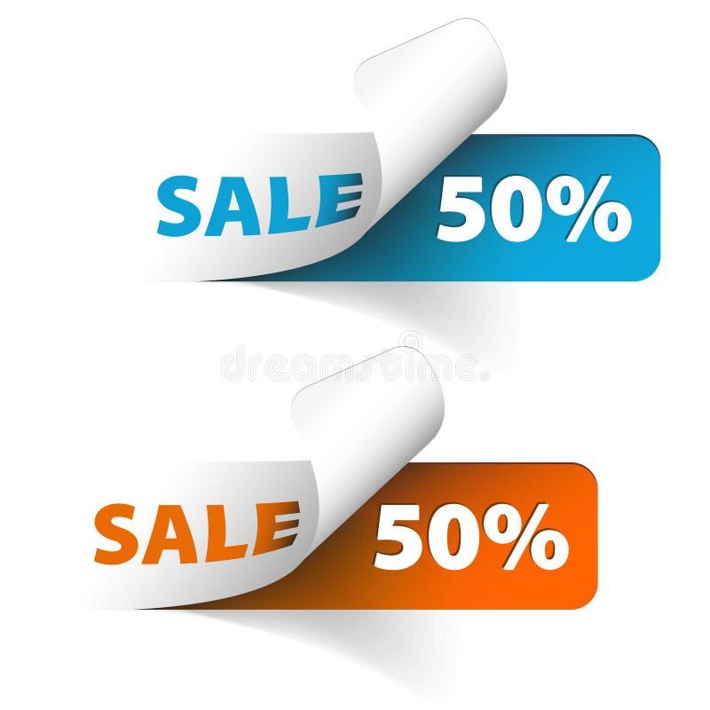 Vector Blauwe en oranje verkoopcoupons vector illustratie