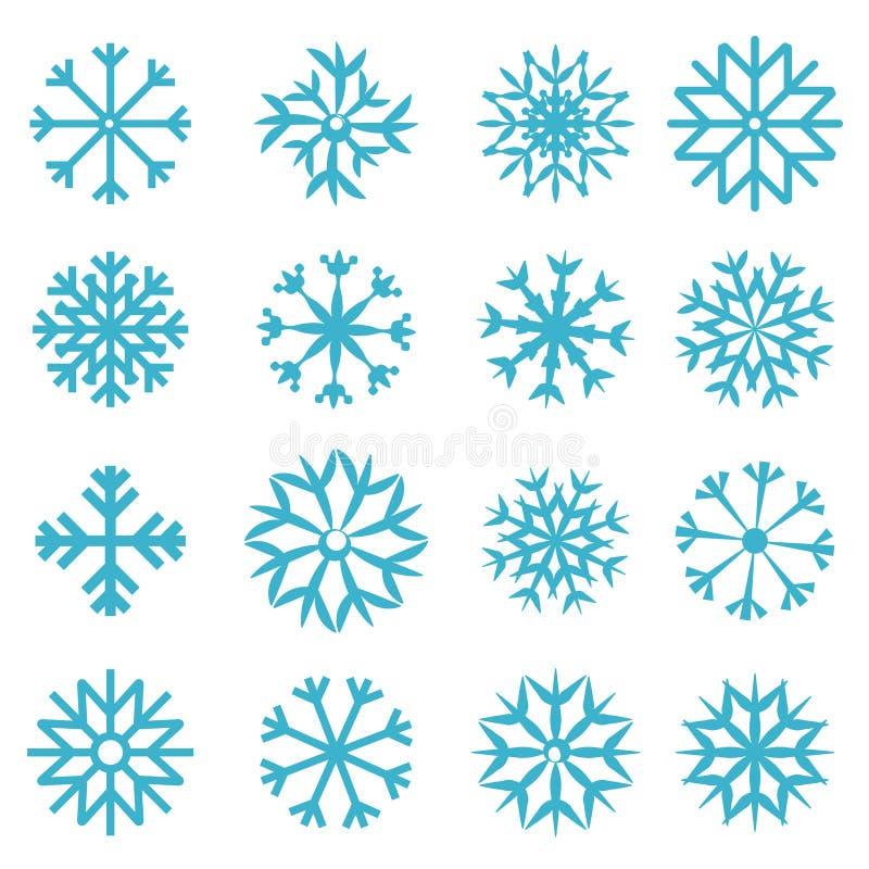 Vector Blauwe Geplaatste Sneeuwvlokken royalty-vrije illustratie