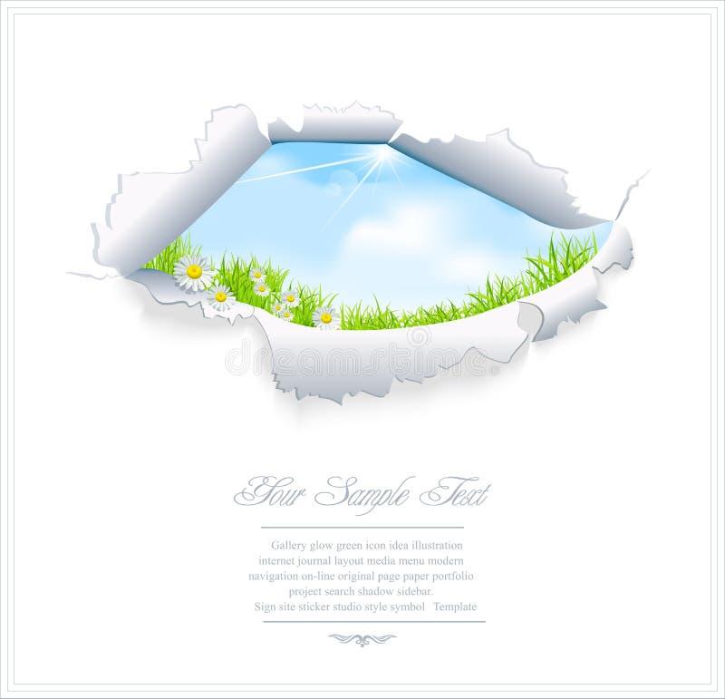 Vector blauwe hemel door het gescheurde document vector illustratie