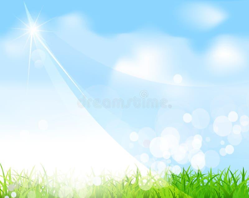 Vector blauwe hemel met gras, straal, onduidelijk beeld vector illustratie