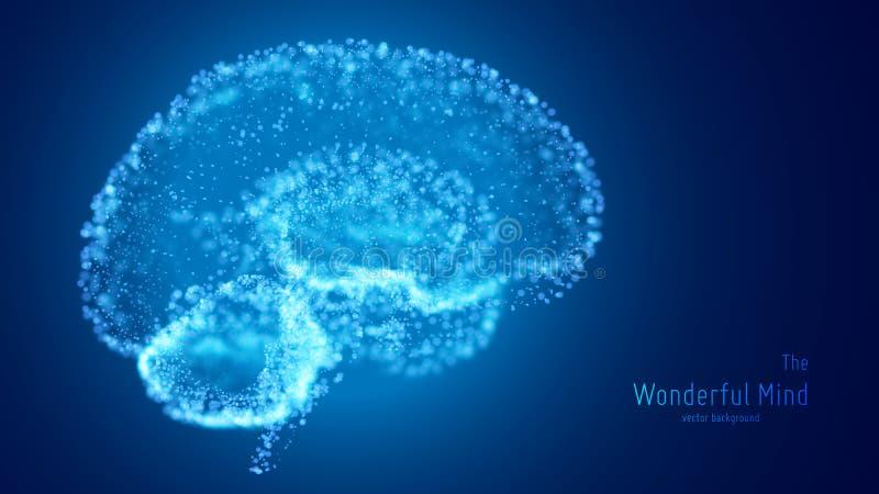 Vector blauwe illustratie van 3d hersenen met gloeiende neuronen en ondiepe diepte van gebied Conceptueel beeld van ideegeboorte  royalty-vrije illustratie