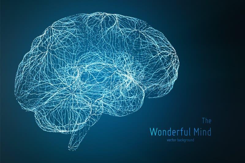 Vector blauwe illustratie van 3d hersenenkant met synapsen en gloeiende neuronen Conceptueel beeld van ideegeboorte of stock illustratie