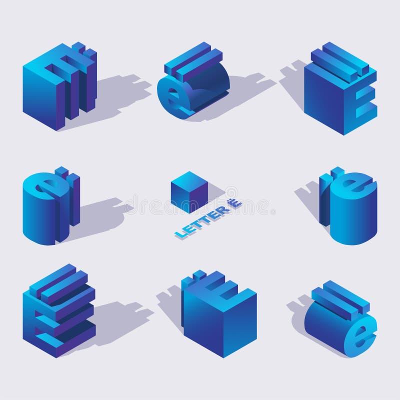 Vector blauwe kleuren Russische brief Yo 3d in isometrische stijl Het ontwerp met schaduw, vat Kleurrijk Type voor Creatieve Rubr royalty-vrije illustratie