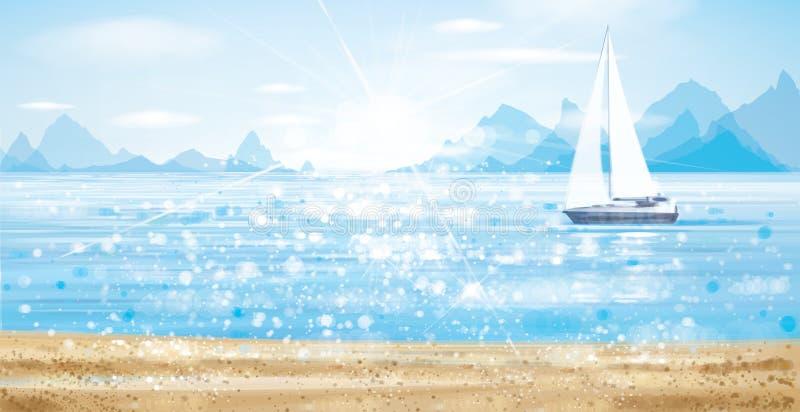 Vector blauwe overzees scape met jacht in zonneschijn royalty-vrije illustratie