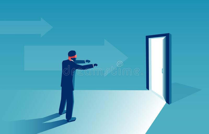 Vector of a blindfolded business man being challenged to find a new solution. Vector of a blindfolded businessman being challenged to find a new solution vector illustration