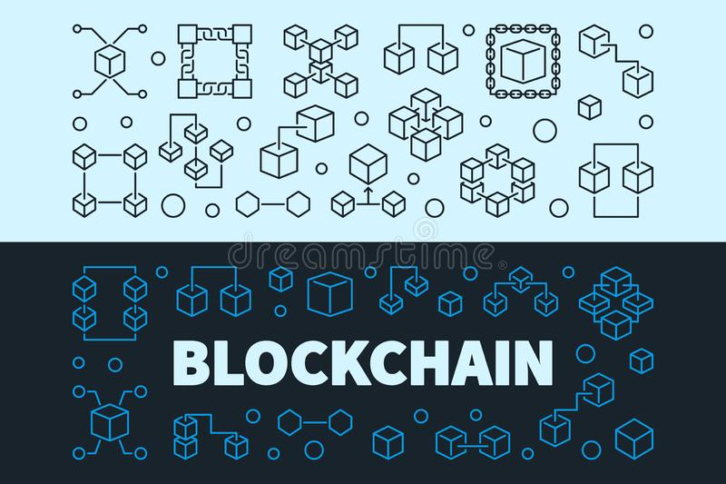 Vector Blockchain concept banners set. Block chain illustration stock illustration