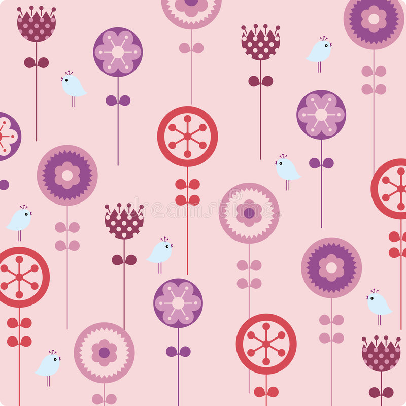 vector bloem en vogelachtergrond vector illustratie