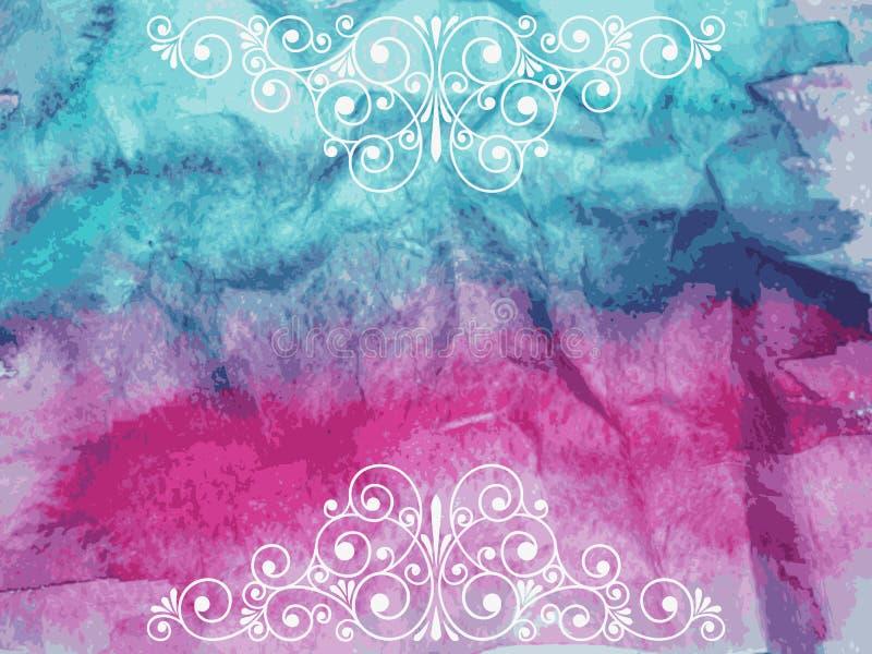 Vector Bloemen Decoratieve Elementen op waterverfachtergrond royalty-vrije illustratie
