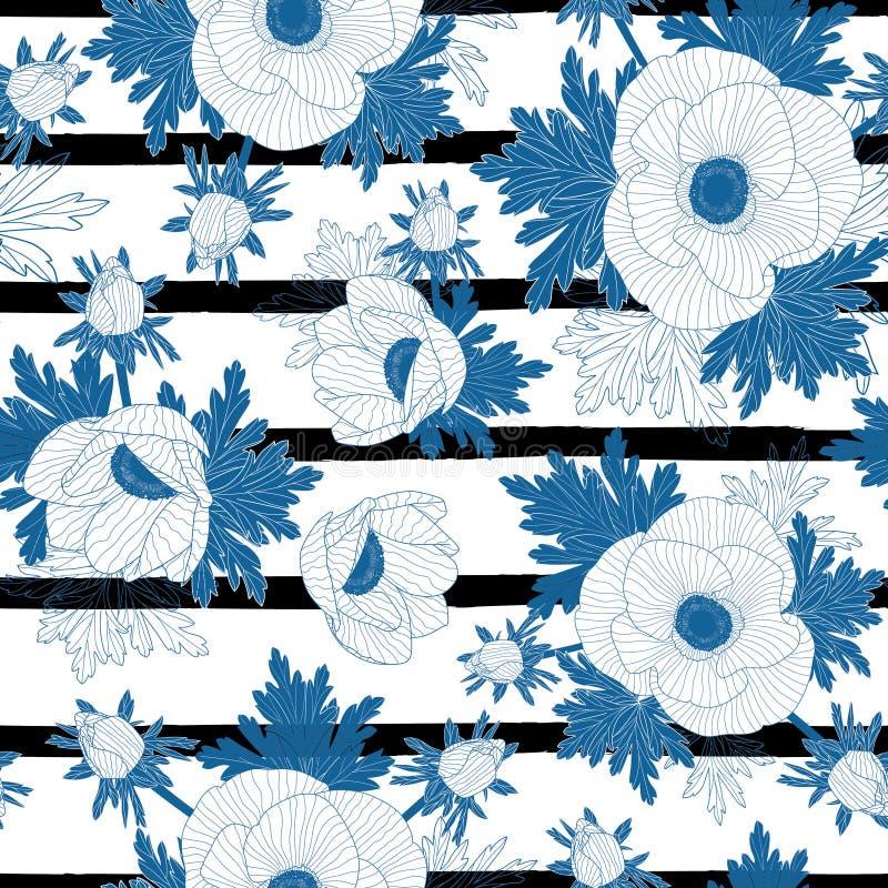 Vector bloemen herhaalt naadloos patroon met de blauwe bloemen van de lijnanemoon op zwart-witte streepachtergrond vector illustratie