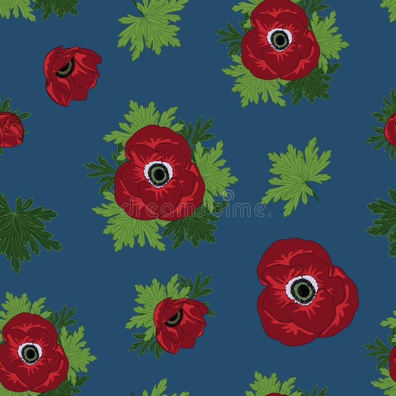 Vector bloemen herhaalt naadloos patroon met rode anemoonbloemen op blauwe achtergrond royalty-vrije illustratie