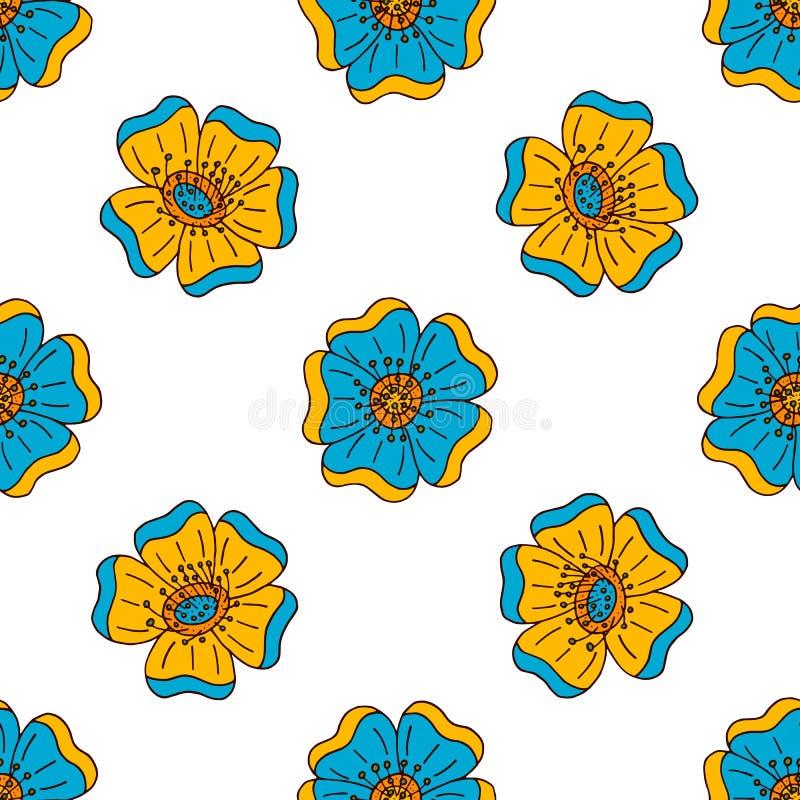 Vector bloemen kleurrijk naadloos patroon met hand getrokken krabbelelementen royalty-vrije illustratie