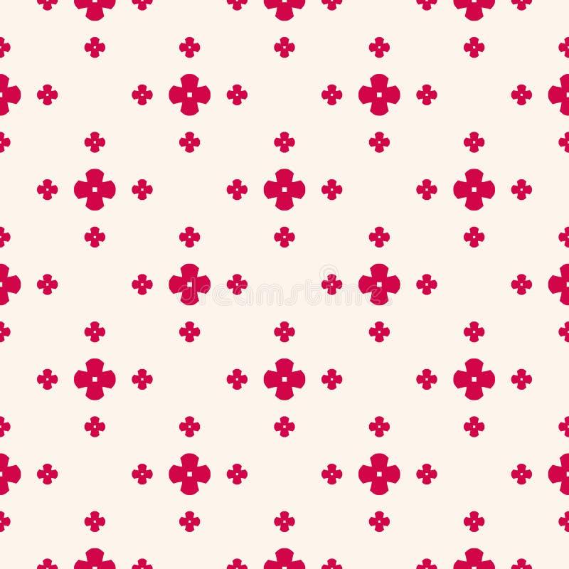 Vector bloemen minimalistisch naadloos patroon in Aziatische stijl Rood en beige geometrisch ornament, abstracte textuur als acht vector illustratie