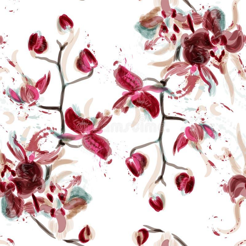 Vector bloemen naadloos die patroon met orchideebloemen in wa worden geschilderd vector illustratie