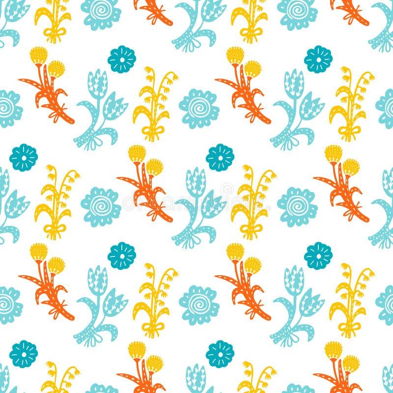 Vector bloemen naadloos patroon Handdrawn botanische achtergrond royalty-vrije illustratie