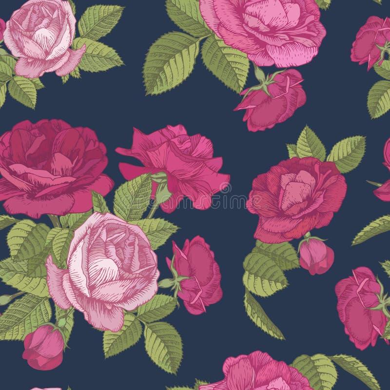 Vector bloemen naadloos patroon met boeketten van rode en roze rozen op donkerblauwe achtergrond vector illustratie