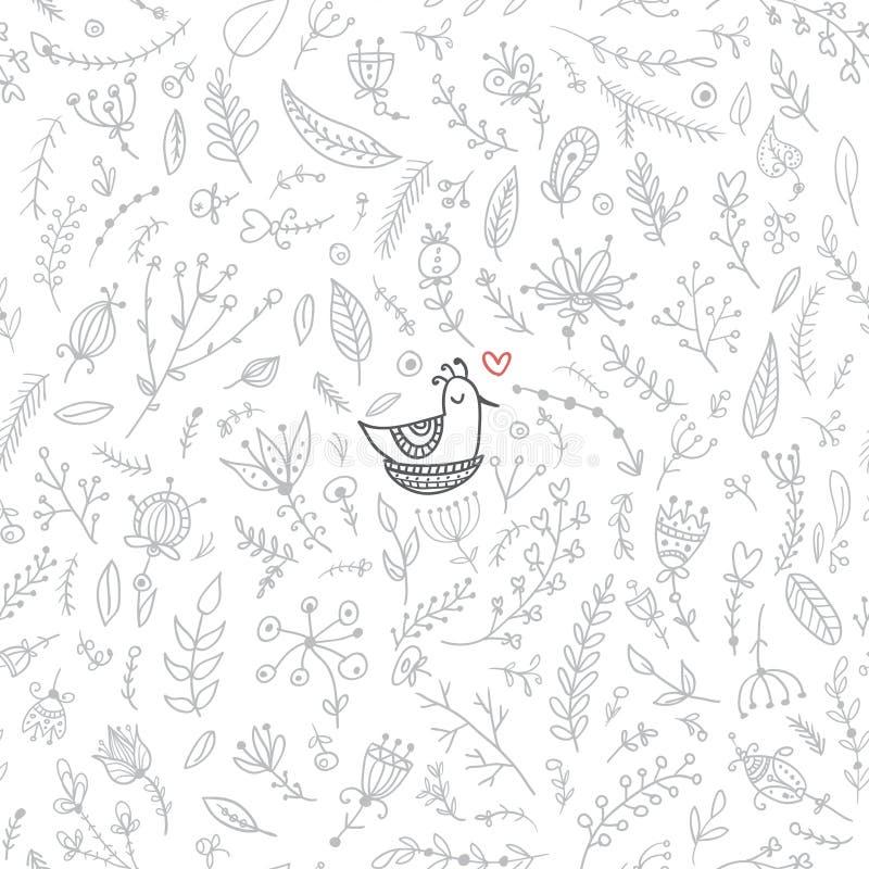 Vector bloemen naadloos patroon met leuke vogel in het nest vector illustratie