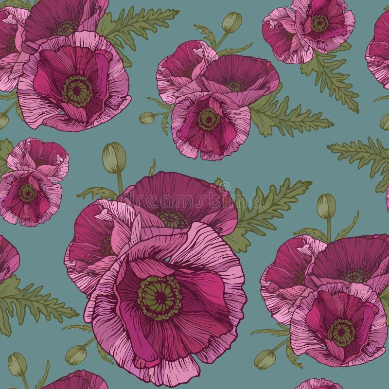 Vector bloemen naadloos patroon met roze papavers royalty-vrije illustratie