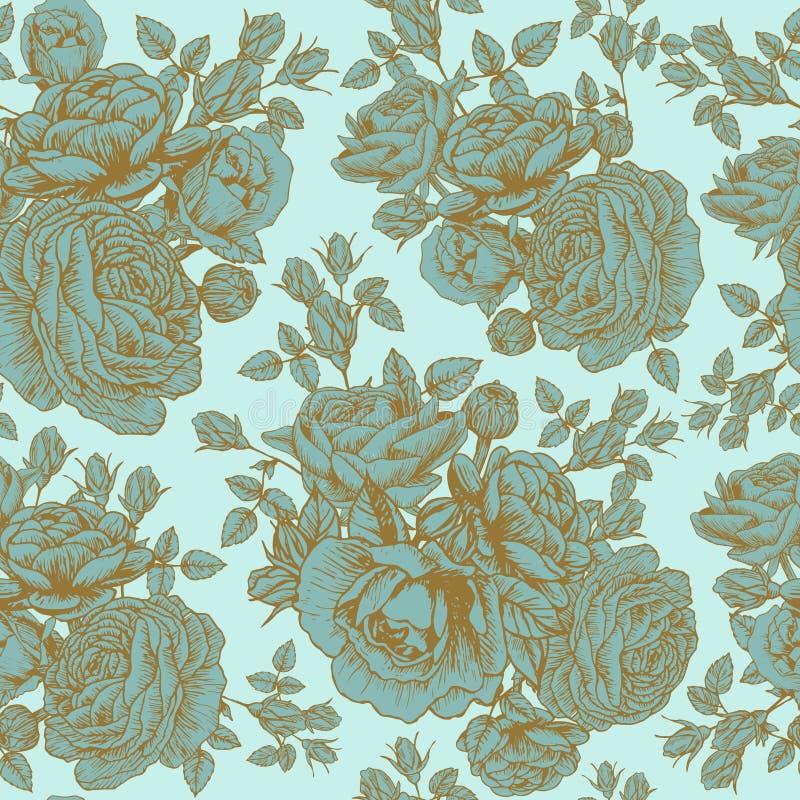 Vector bloemen naadloos patroon met rozen en Perzische boterbloem stock illustratie