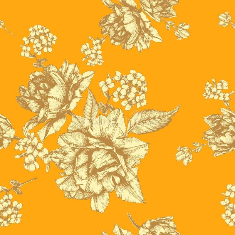 Vector bloemen naadloos patroon met tulpen en jasmijnbloemen stock illustratie