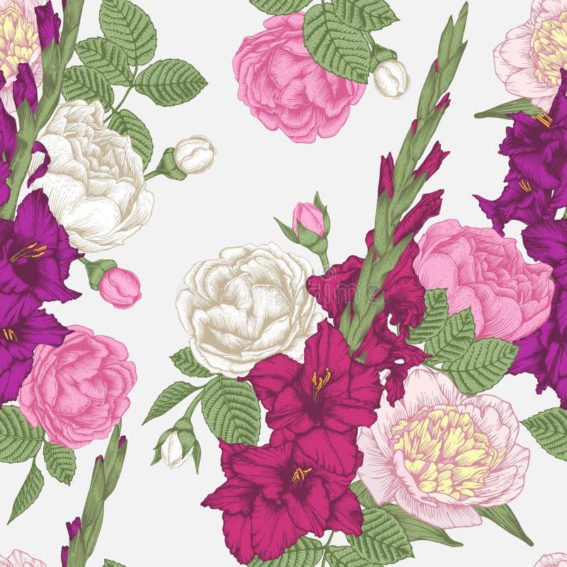 Vector bloemen naadloos patroon met vilet en purpere gladiolen bloeit, roze en witte rozen en pioenen stock illustratie