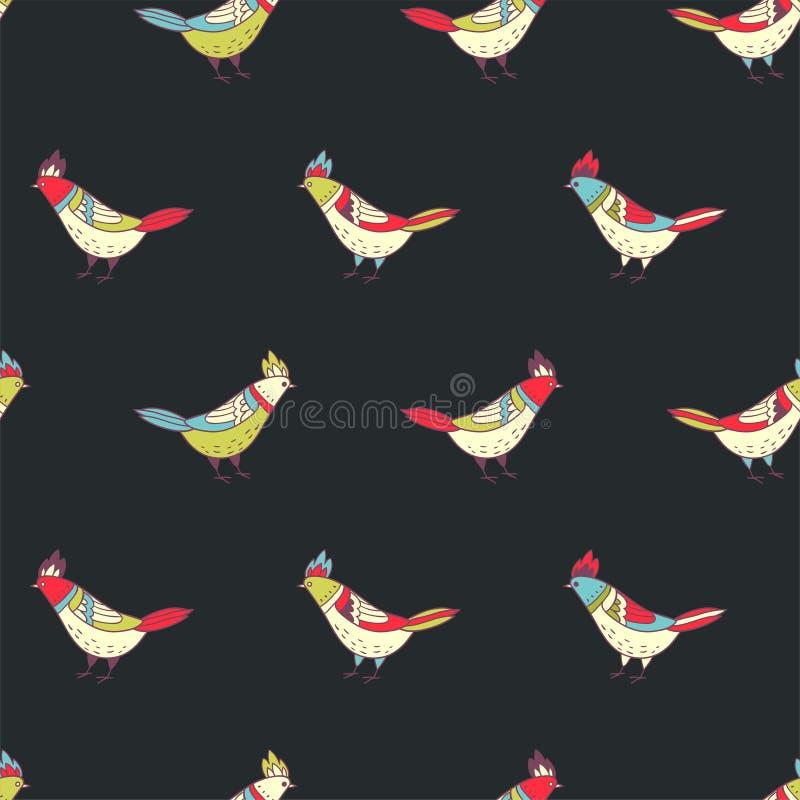 Vector bloemen naadloos patroon Mooie kleurenvogels in volksstijl stock illustratie
