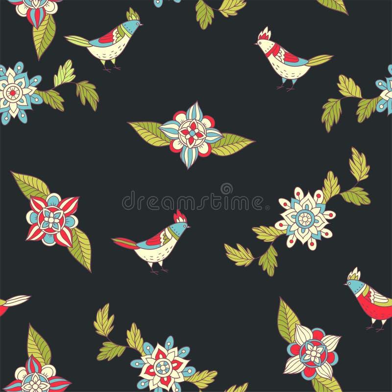Vector bloemen naadloos patroon Sierbloemen en vogels royalty-vrije illustratie