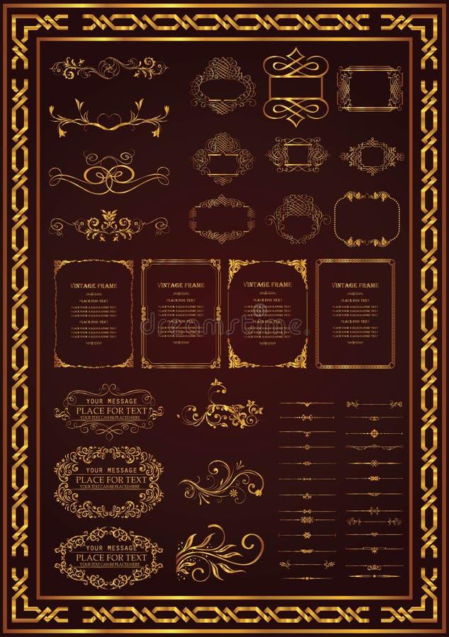 Vector bloemen retro naadloze patroon vastgestelde gouden kleur royalty-vrije illustratie