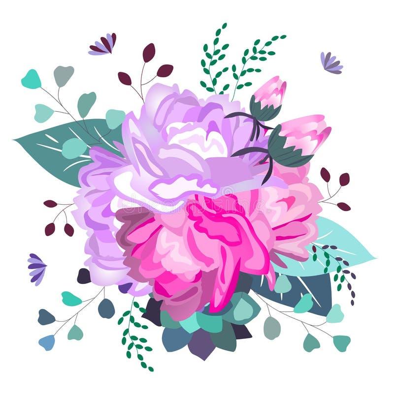 Vector bloemen romantische, roze en purpere samenstelling In succulente bloemen, bladeren, groen De zomer, de lente, het ontwerp  vector illustratie