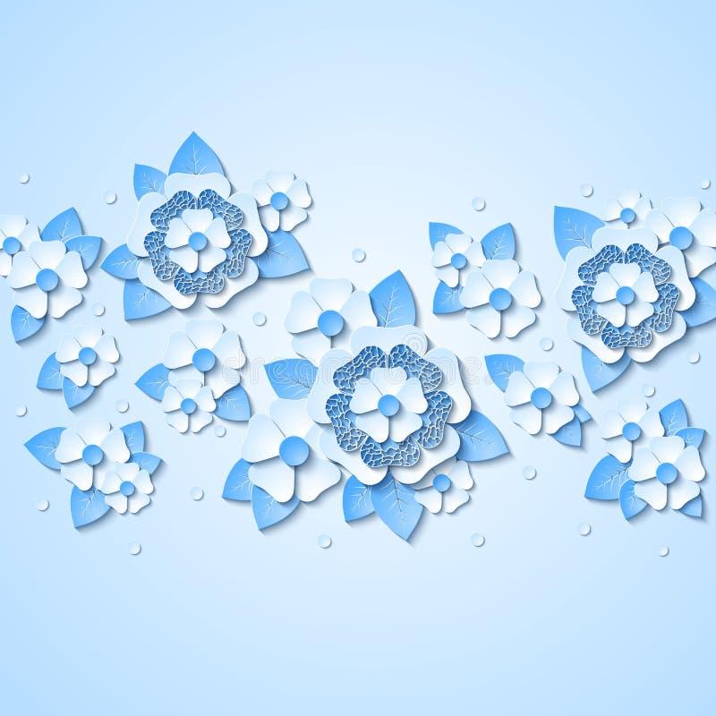 Vector bloemenachtergrond met 3d lichtblauwe bloemen stock illustratie
