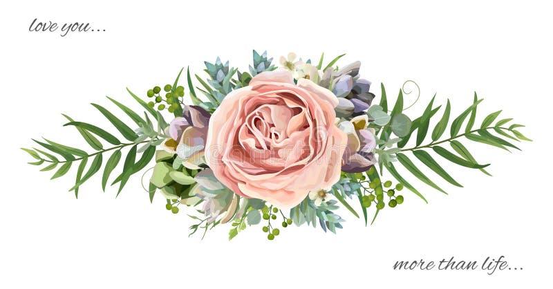 Vector bloemenboeketontwerp: lavendel van de tuin nam de roze perzik wa toe vector illustratie
