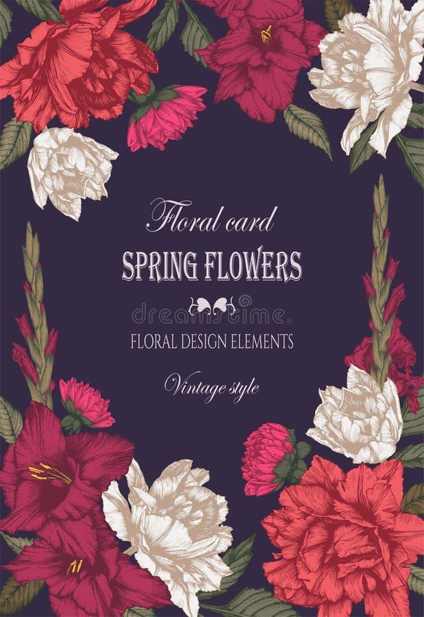 Vector bloemengroetkaart met tulpen, dahlia's en gladiolenbloemen royalty-vrije illustratie