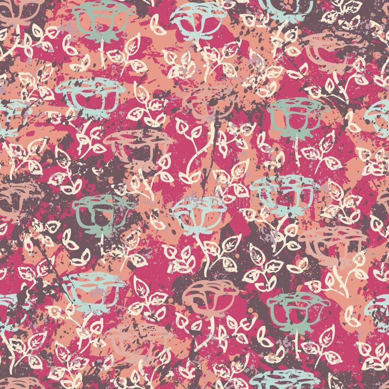 Vector bloemengrungepatroon met rozen vector illustratie